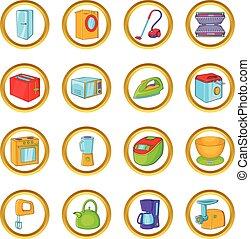 Household appliances vector set, cartoon style