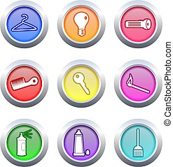 household buttons - collection of colourful household object...