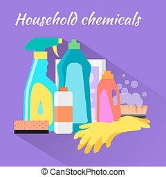 Household Chemical Flat Design - Household chemical flat...