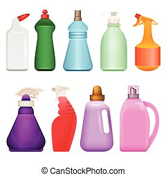 Household chemical goods - modern vector realistic isolated set of objects
