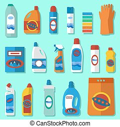 Household chemicals flat design set