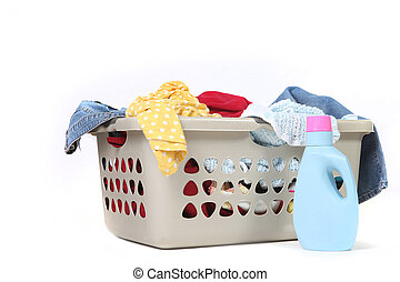 Full Basket of Dirtly Laundry With Detergent Ready to Be Washed