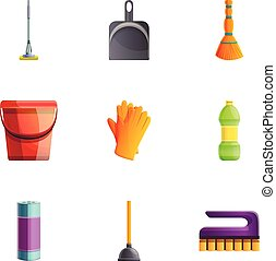 Household cleaner icon set, cartoon style