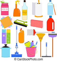 Household Cleaning Equipments - Vector Icons : Domestic...