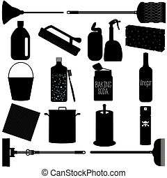Household Cleaning Equipments - Vector I Silhouette Icons :...