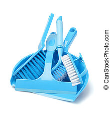 Household Cleaning Tools On White Background