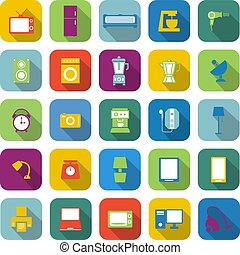Household color icons with long shadow
