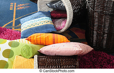 color pillows with basket