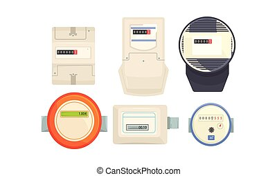 Household Electric Meter Box to Monitor the Flow of Electricity Vector Set. Energy Control Concept