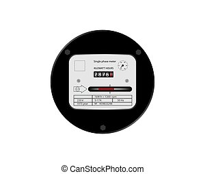 Household electricity meter. The counter is single-phase retro. Vector illustration