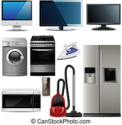Set of household electronic elements over white. Vector illustration