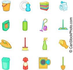 Household elements icons set, cartoon style