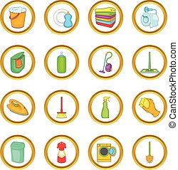 Household elements vector set, cartoon style