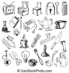 Household home objects collection - Everyday objects set....