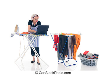 Household, housekeeping - House wife, basket with ironed ...