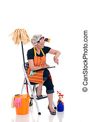 Household, housekeeping - Housewife, woman attending to ...