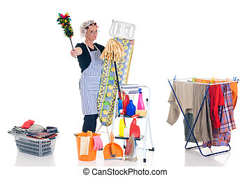Household, housekeeping - House wife, clothesline with...