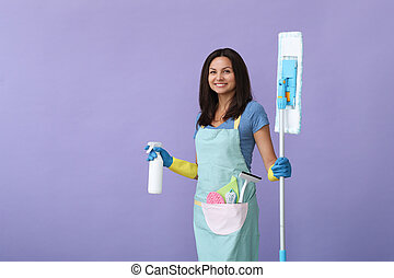 Household. Housemaid at daily work