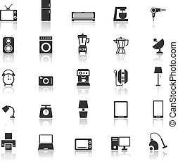 Household icons with reflect on white background
