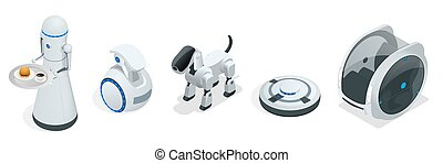 Household isometric robots engineered for people assistance and convenience