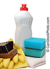 Household items for cleanliness isolated white background