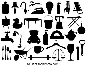 Household items - Illustrated silhouettes of many household...