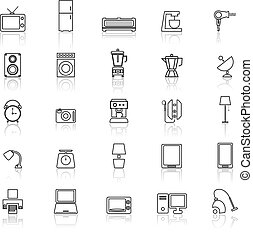 Household line icons with reflect on white background