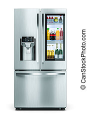 Household modern refrigerator with drinks storage window isolated on white background 3d