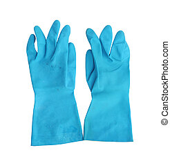 household protective rubber gloves Isolated on white...