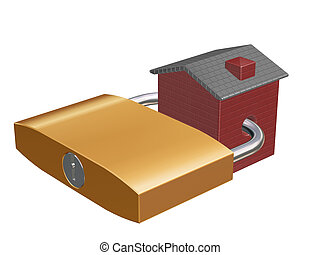 Household security - 3D render of house with padlock through...
