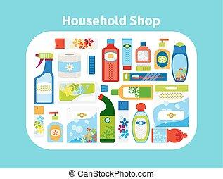 Household shop icon set