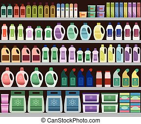 Household supplies aisle in the supermarket, shelves filled with cleaning products.
