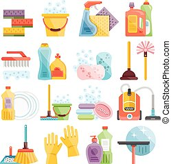 Household supplies, cleaning icons - Household supplies and...