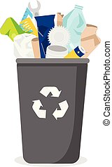 Household waste. Trash bin with garbage. Plastic, paper, glass and other rubbish