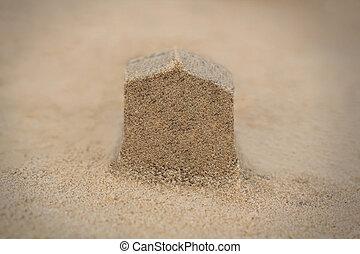 house(home), 结构, 做, 在中, 海滩沙子, -, 概念, photo.
