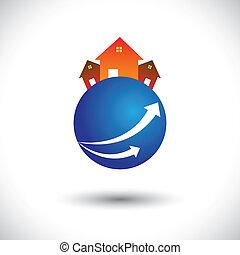 house(home), graphique, planet-, résidence, vecteur, ou, icône