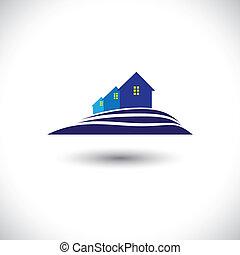 house(home), graphique, real-estate-, &, résidence, vecteur, icône