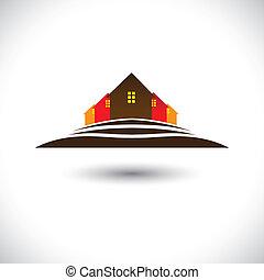 house(home), &, hemvist, på, kulle, ikon, för, verkligt...