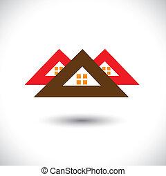 house(home), industry-, vendita, acquisto, reale-proprietà, &, residenziale, graphic., icon(symbol), ecc, vettore, illustrazione, anche, proprietà, uffici, sistemazioni, icona