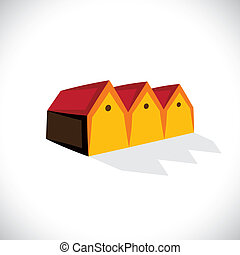 House(home) or store(shed) symbol for real estate- vector graphic. The illustration is also a icon for buying & selling storehouse and residential property, storage office space, etc