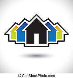 house(home), &, résidence, signe, pour, vrai, estate-, vecteur, graphique