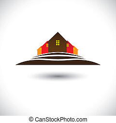 house(home), &, verblijven, op, heuvel, pictogram, voor,...