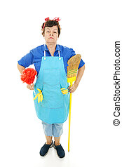 Maid standing at attention with her duster and broom. Full body isolated.