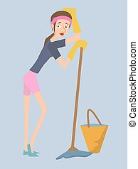 housekeeper girl cartoon