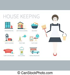 Housekeeper - Busy housekeeper simultaneously doing many...