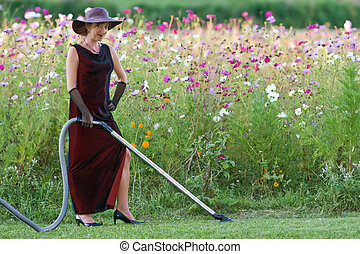 housekeeper in flower bed