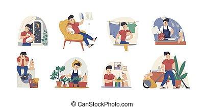 housekeeping., 赤ん坊, 洗濯物, 特徴, 漫画, 平ら, 単一, 幼児, 父, pack., 休暇, 就寝時刻, 雑用, ベビーシッター, 母性, reading., 供給, ベクトル, set., 人, 父性, イラスト, 物語