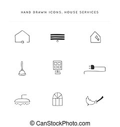 Housekeeping and home repairs. Set of vector hand drawn icons.