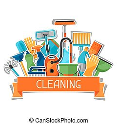 Housekeeping background with cleaning sticker icons. Image...