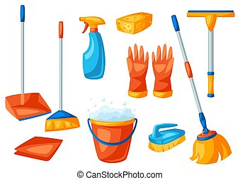 Housekeeping cleaning items set. Illustration for service, ...